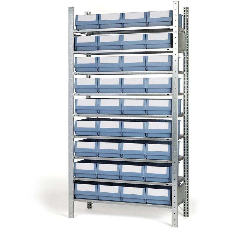 EUROKRAFT Rayonnage emboîtable avec bacs - 36 bacs, 9 tablettes, profondeur 436 mm - rayonnage de base