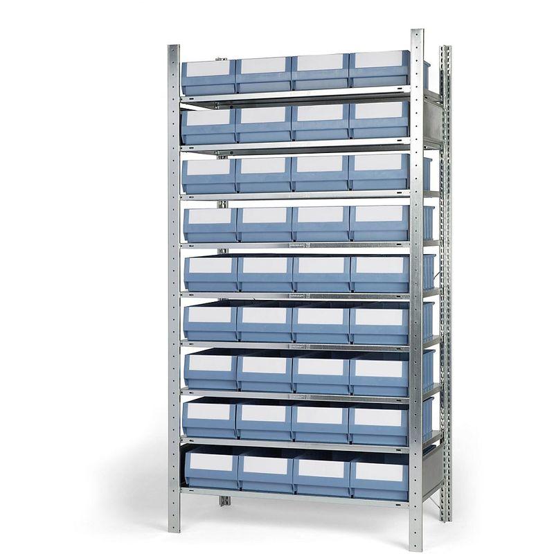 EUROKRAFT Rayonnage emboîtable avec bacs - 36 bacs, 9 tablettes, profondeur 536 mm - rayonnage de base