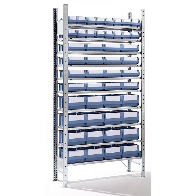 EUROKRAFT Rayonnage emboîtable avec bacs - 48 bacs, 10 tablettes, profondeur 336 mm - rayonnage de base