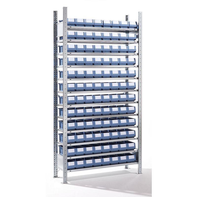 EUROKRAFT Rayonnage emboîtable avec bacs - 96 bacs, 12 tablettes, profondeur 336 mm - rayonnage de base