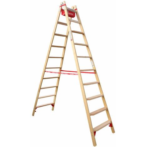 Euroline Holz Comfort-Stufenstehleiter mit Eimerhaken und Werkzeugablagetasche Nr. 10577 2x10