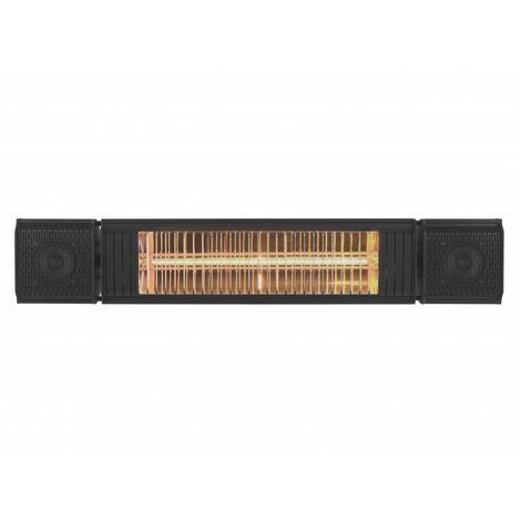 Eurom Heat & Beat Calentador eléctrico de patio negro- 2000W - 740 x 130 x 135mm