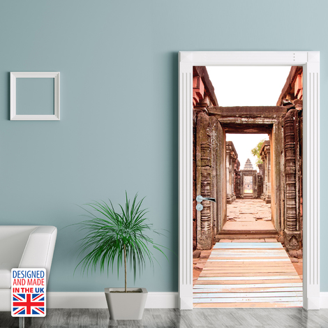 Europe Size 90Cm X 200Cm Ancient Entrance Door Mural Sticker