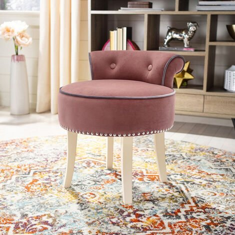 European Crush Velvet Vanity Dressing Table Stool Wood Legs Chairs
