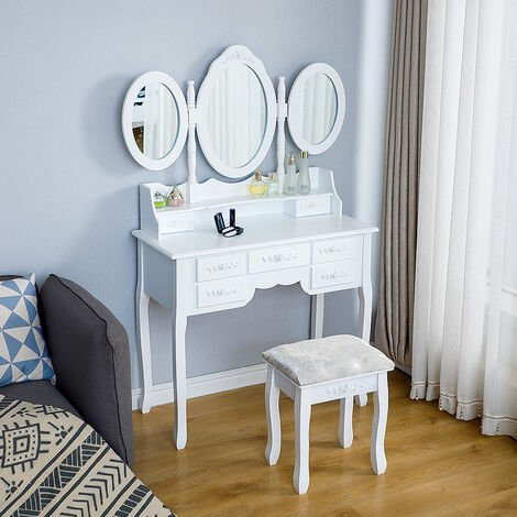 European style dressing table with stool, three folding mirrors and 7 drawers 90 * 40 * 148cm