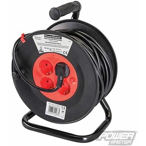 European Type F Schuko Cable Reel 230V - 16A 25m 4 CEE 7/4 Sockets (197277)