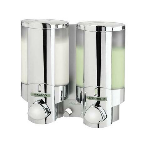 Euroshowers Double Aviva Liquid Soap Shampoo Shower Gel Dispenser Pump Chrome