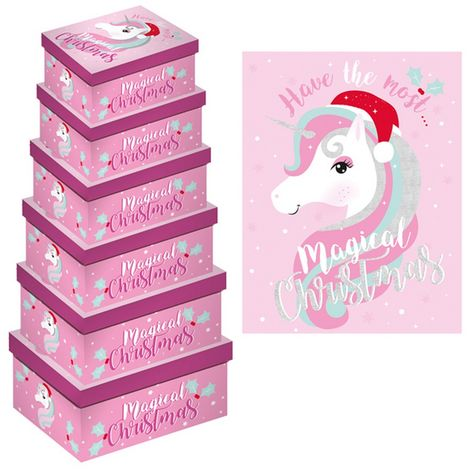 Eurowrap Christmas Unicorn Oblong Gift Boxes (Pack of 6) (One Size) (Pink/Purple)