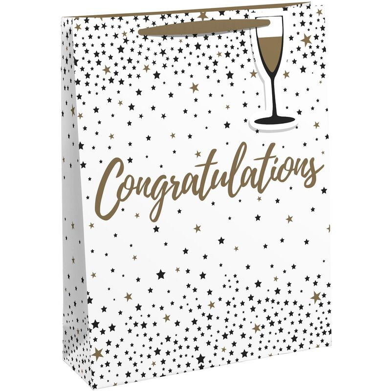 Image of Congratulations Gift Bag (Pack of 6) (M) (White/Dull Gold) - Eurowrap