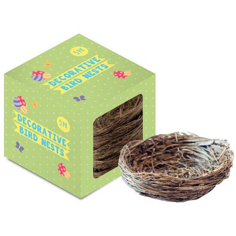 Image of Easter Birds Nests (Pack of 5) (One Size) (Brown) - Eurowrap
