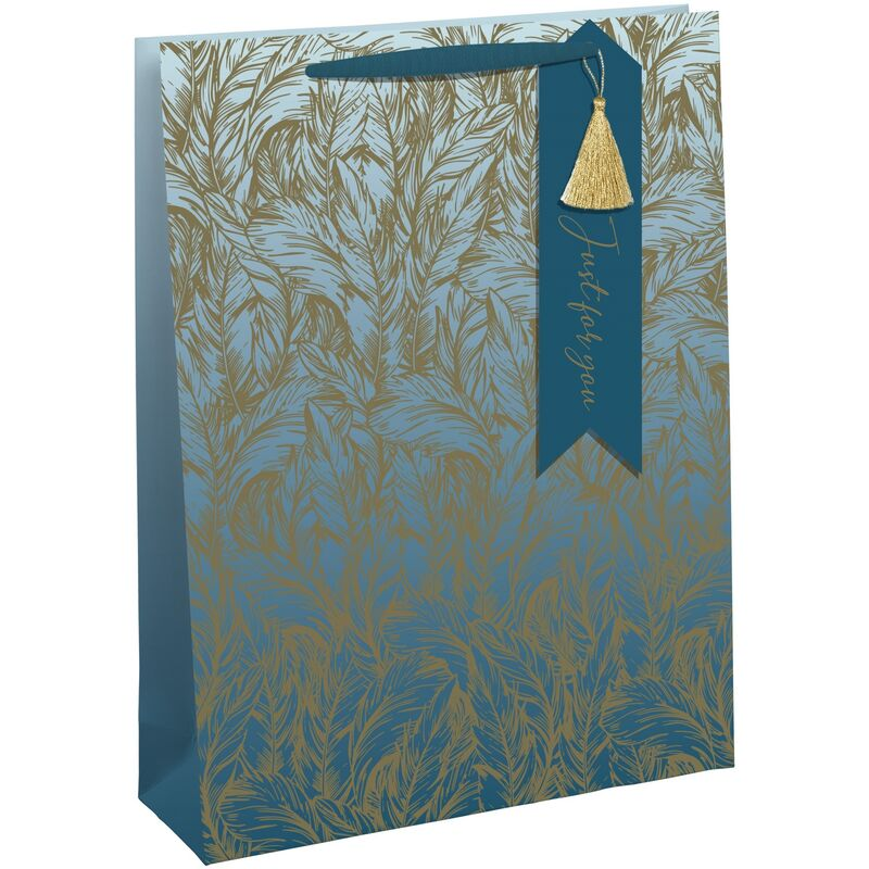 Image of Feathers Bottle Bag (Pack of 6) (One Size) (Teal/Gold) - Eurowrap