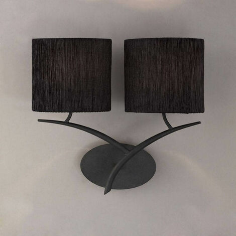 Eve aplique 2 bombillas E27, antracita con pantalla ovalada negra