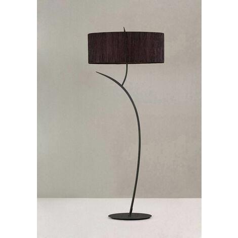 Eve lámpara de pie 2 bombillas E27, antracita con pantalla ovalada negra