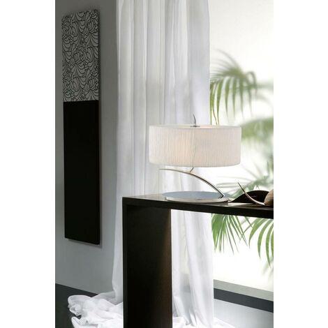 Eve Sobremesa 2 bombillas E27 Pequeño, cromo pulido con pantalla ovalada blanca