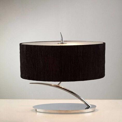 Eve Sobremesa 2 bombillas E27 Pequeño, cromo pulido con pantalla ovalada negra