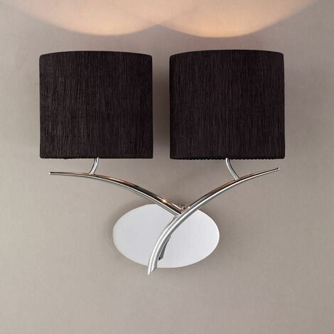 Eve wall light with 2-light switch E27, polished chrome with oval black lampshade