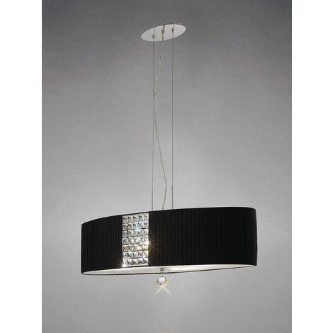 Evelyn oval pendant light with black shade 4 lights polished chrome / crystal