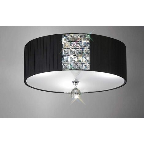 Evelyn round ceiling lamp with black shade 3 lights polished chrome / crystal