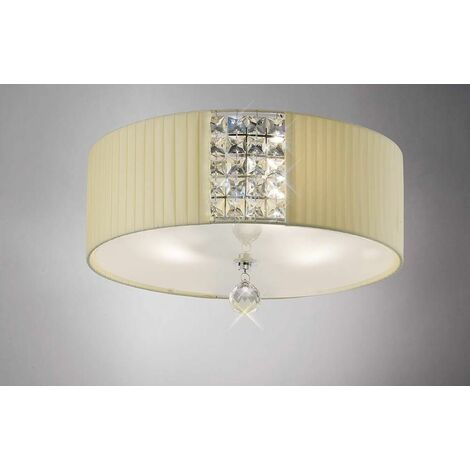 Evelyn round ceiling lamp with Cream shade 3 Polished chrome / crystal bulbs