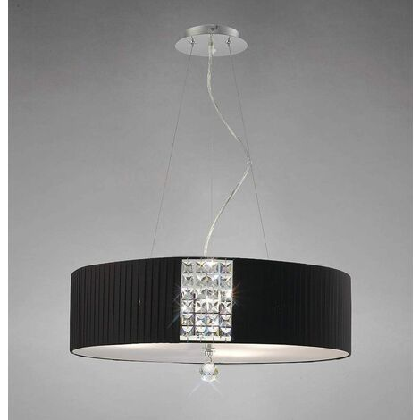 Evelyn round pendant light with black shade 5 lights polished chrome / crystal