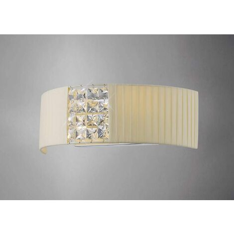Evelyn Wall Lamp with Cream Shade 2 Lights Polished Chrome / Crystal
