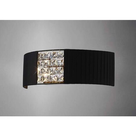 Evelyn wall light with black shade 2 lights polished chrome / crystal