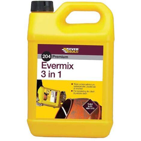 "main image of ""EVERBUILD 204 EVERMIX 3 IN 1 TRIPLE ACTION ADMIX 5 LITRE PLASTICISER ADMIXTURE"""