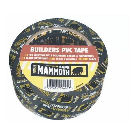Everbuild 2BUILDBK75 Builders PVC Tape Black 75mm X 33 Metre