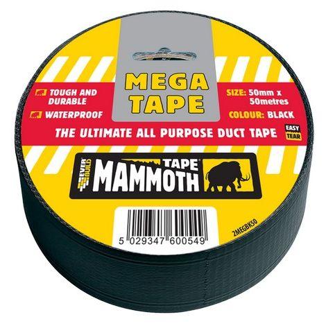 Everbuild 2MEGBK50 Mega All Purpose Tape Black 50mm X 50 Metre
