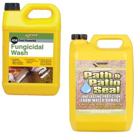 Everbuild 404 Fungicidal Path Drive Wash Algae Remover and 405 Stone Sealer 5L