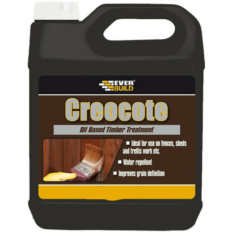 EVERBUILD 4LTR CREOCOTE Light Brown replaces creosote fence wood treatment