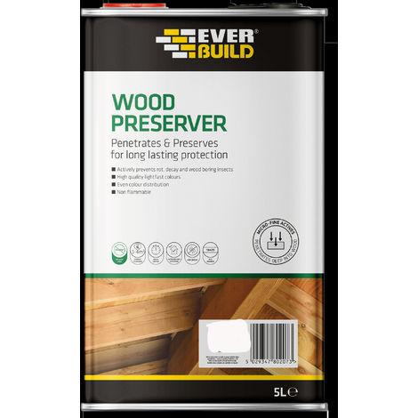 EVERBUILD 5 Litre GOLDEN CHESTNUT Wood Preserver Treatment Solvent Free Stain