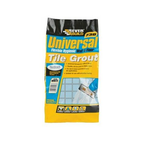 Everbuild 730 Universal Flexible Hygenic Wall And Floor Tile Grout Sandstone 5kg