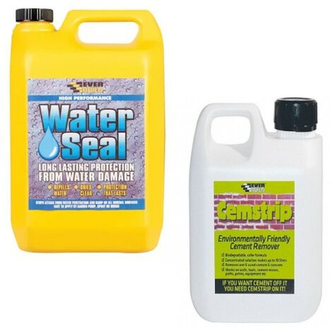 Everbuild Environmentally Friendly Patio Stain Remover 1L and 402 Water Seal 5L