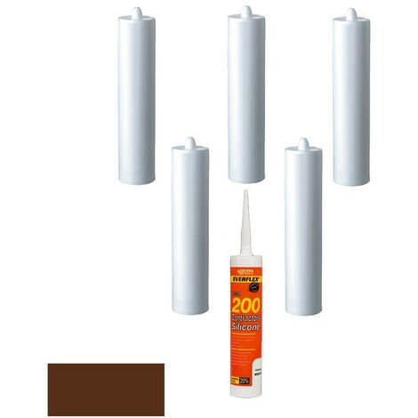 Everbuild Everflex 200 Contractors LMA Silicone Brown 295ml Size Pack of 6