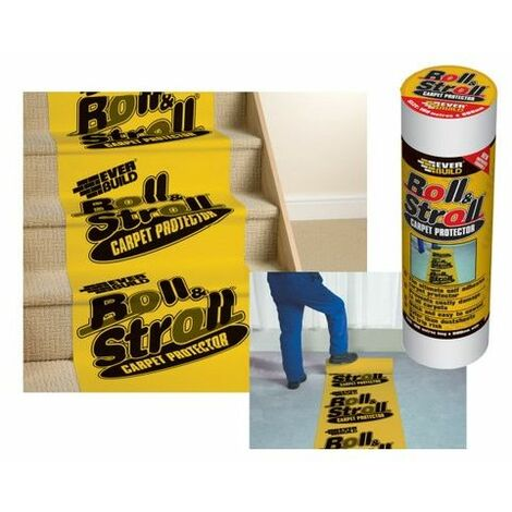 Everbuild ROLL20 Roll & Stroll Premium Carpet Protector Yellow Branded 25 Metre X 600mm