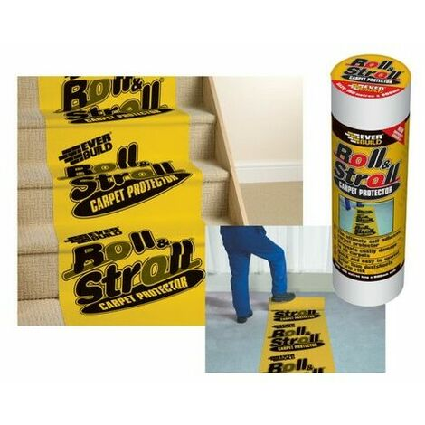 Everbuild ROLL75 Roll & Stroll Premium Carpet Protector Yellow Branded 75 Metre X 600mm