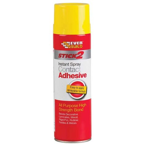 Everbuild Stick 2 Contact Spray Adhesive 500ml Wood Metal Plastic Glue
