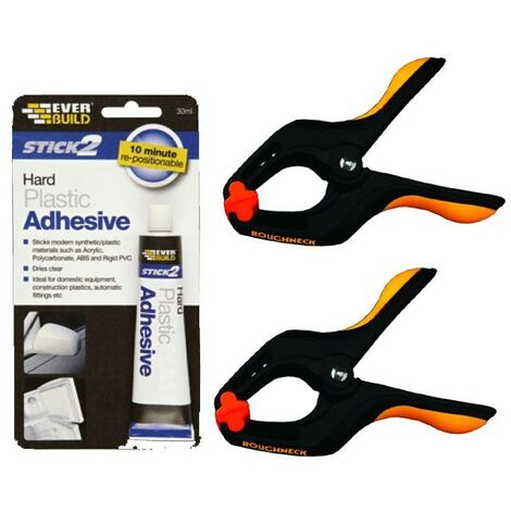 Everbuild Stick 2 Hard Plastic Adhesive 30ml Size Tube with 50mm Hand Clamps