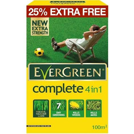 EverGreen 4 in 1 Lawn Care - Kills Weeds, Moss and Feeds Lawns - 80m2
