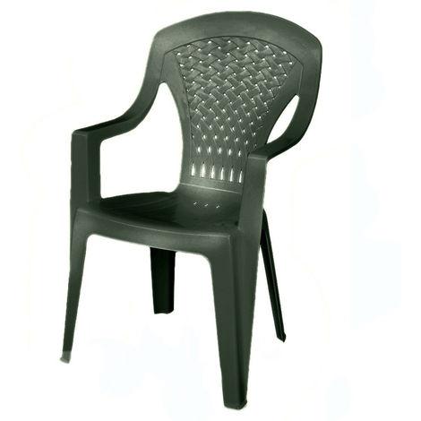 Sedie Per Esterno Plastica.Evergreen Poltrona Sedia In Plastica Resina Verde Impilabile Per