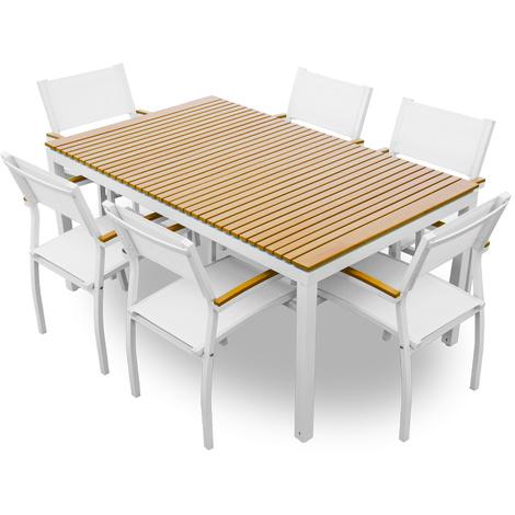 Set Tavolo Sedie Legno Giardino.Evergreen Set Tavolo 6 Sedie In Alluminio E Legno Eg51167