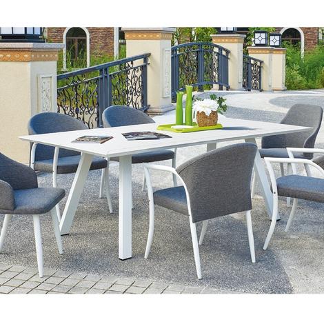 Evergreen Table rectangulaire blanche 220x110xh76cm extérieur mobilier de  jardin 50667
