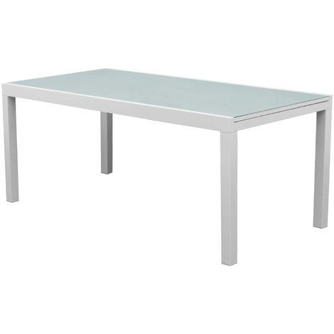 Evergreen Tavolo allungabile in alluminio piano in vetro EG50591