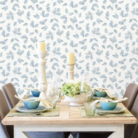 Evergreen Wallpaper Leaves White and Blue - Multicolour