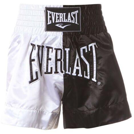 EVERLAST Pantalones de boxeo Thai blanco y negro M