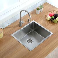 Évier 1 Bac Évier cuisine Sous-Plan 50*40*22cm Evier à encastrer Inox Évier de cuisine