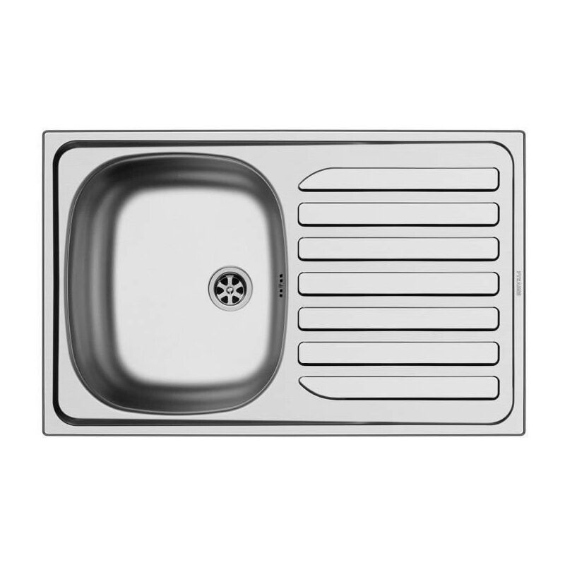 NORD INOX Evier cuisine a encastrer 1 cuve + 1 egouttoir - Inox - 75,5 x 48 x 15 cm
