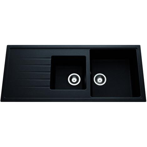 Evier à encastrer Ancoline réversible 2 cuves + 1 égouttoir - Anconetti - 116x50cm - Noir