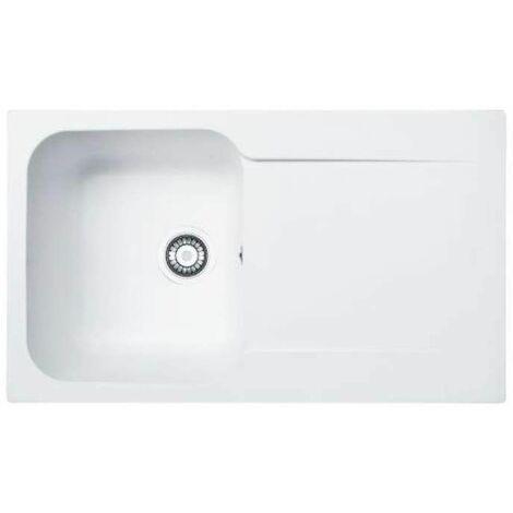 Evier à encastrer blanc, 86x50 cm, 1 cuve, 1 égouttoir, KITE 100